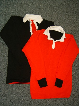 Reversible rugby jersey- red/black